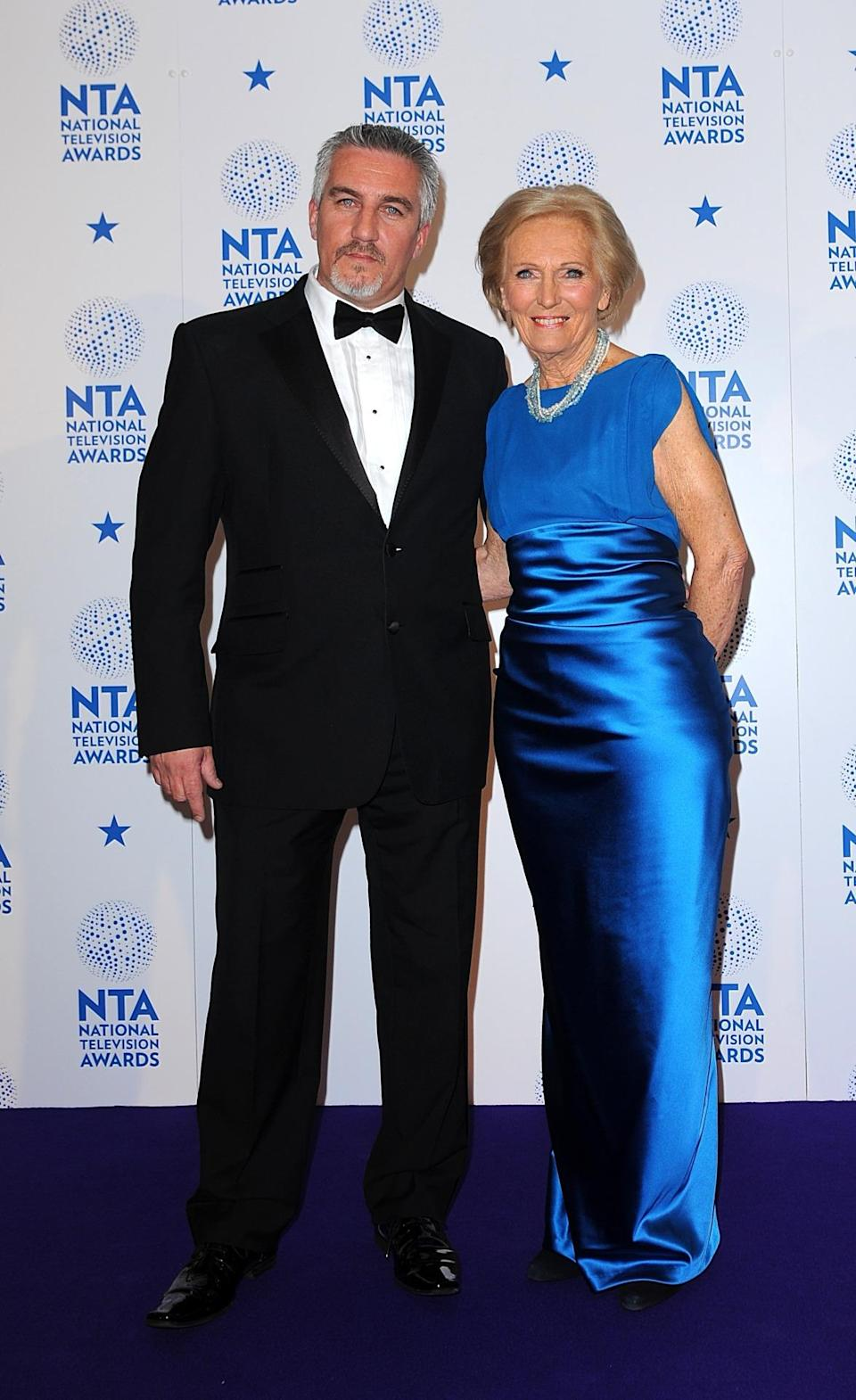 <p>Mary's stunning red carpet look (or blue carpet in this case) consisted of a royal blue satin dress. </p><p><i>[Photo: PA]</i></p>
