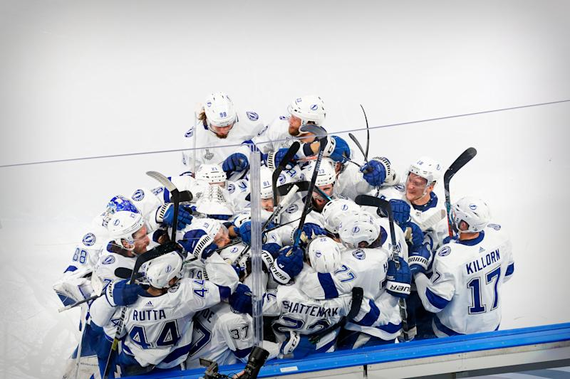 The Tampa Bay Lightning celebrates Kevin Shattenkirk's Game 4 overtime winner against the Dallas Stars.