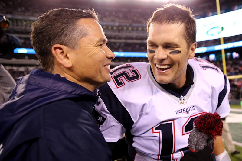 Tom Brady refused to answer questions about his personal trainer Alex Guerrero, pictured here in 2016, in a radio interview on Monday. (Getty Images)
