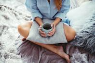 """<p>That extra cup of coffee or tea may be preventing you from getting a good night's sleep, and a tired mind is an unfocused mind. Instead, try switching to decaffeinated beverages <a href=""""https://www.popsugar.com/fitness/habits-that-help-you-fall-asleep-faster-48166252"""" class=""""link rapid-noclick-resp"""" rel=""""nofollow noopener"""" target=""""_blank"""" data-ylk=""""slk:at least eight to 10 hours before bed"""">at least eight to 10 hours before bed</a>. """"This may be tough to do at first, but I have a feeling you won't need that 5 p.m. pick-me-up if you're getting better sleep,"""" Hidary said.</p>"""