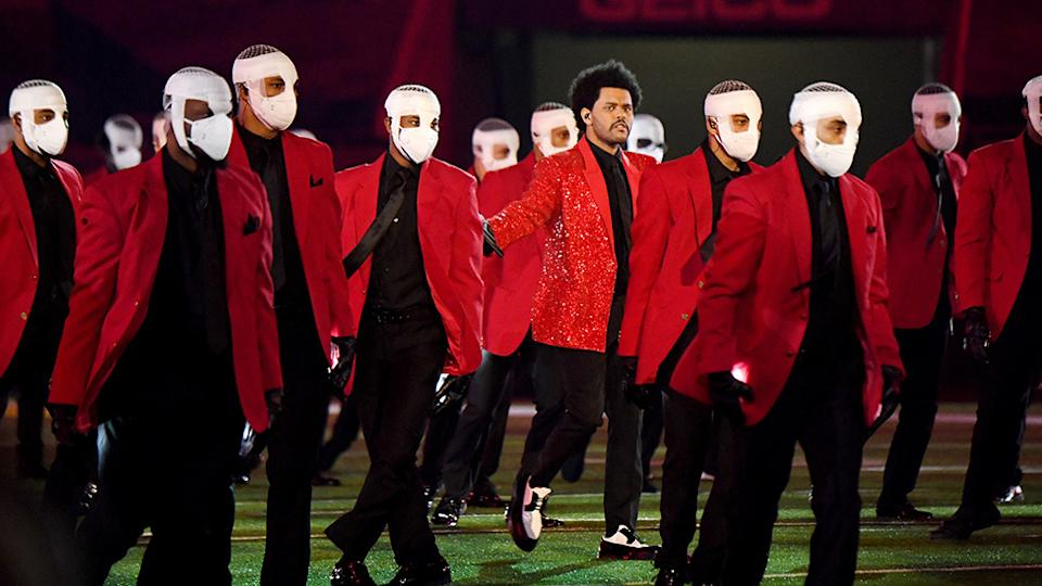 One moment during The Weeknd's Super Bowl halftime show left fans baffled. Photo: Getty