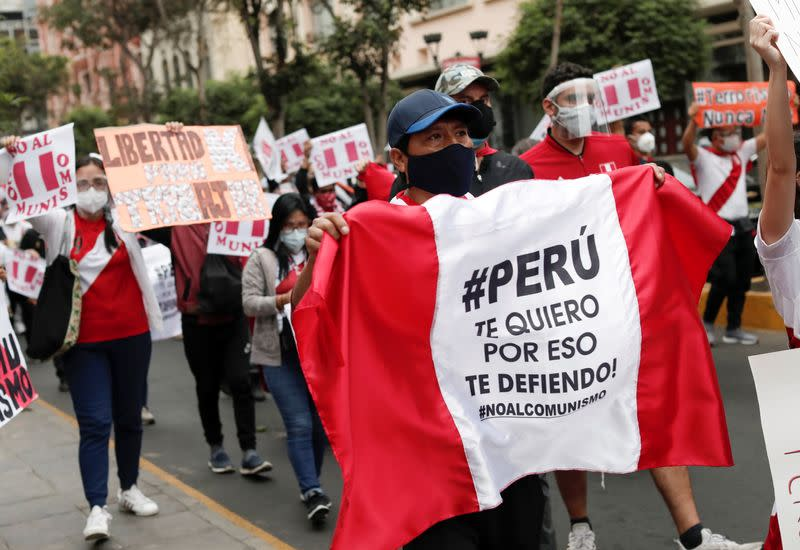 Demonstration ahead of the June 6 run-off election in Lima