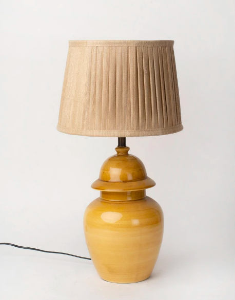 """<a href=""""https://fave.co/33gwU5V"""">BUY HERE</a> Beige and yellow bedside lamp, from Fabindia, for Rs. 2,690"""