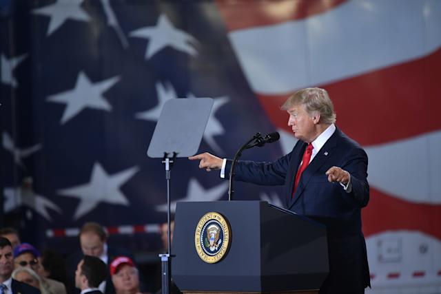 President Donald Trump talks about his tax reform plan at Harrisburg International Airport in Middletown, Pennsylvania, on Wednesday. (MANDEL NGAN/AFP via Getty Images)