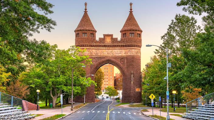 Soldiers and Sailors Memorial Arch in Hartford, Connecticut, USA commemorating the Civil War.