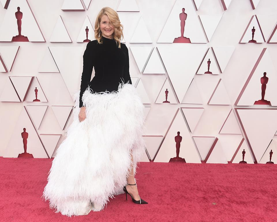 Laura Dern in feathered gown at the oscars 2021