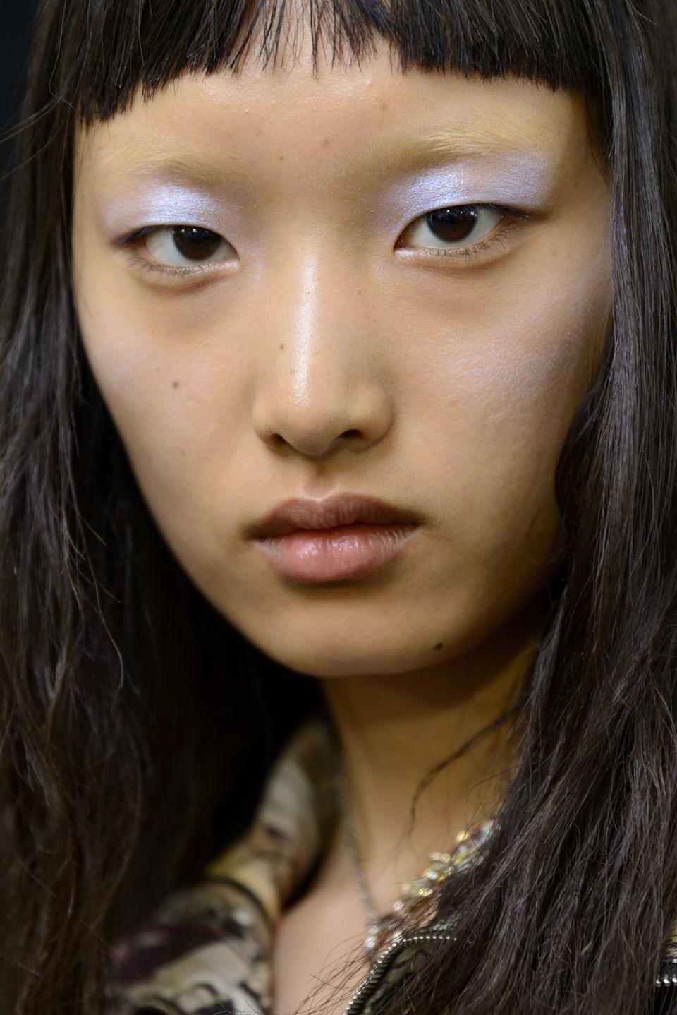 <p>An otherwordly periwinkle eyeshadow seen backstage at Acne. </p>