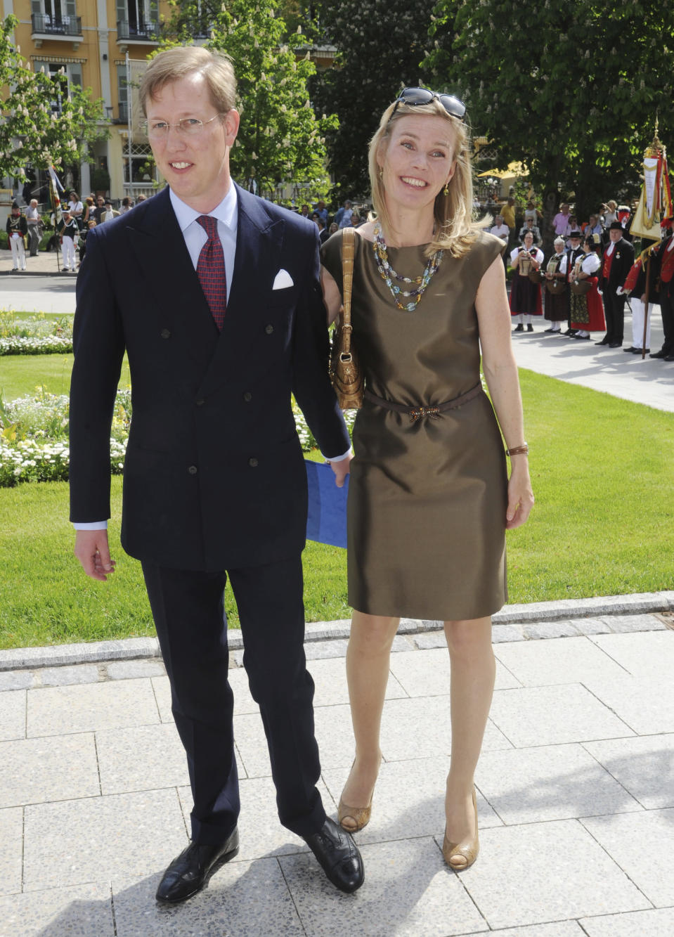 FILE - In this May 11, 2012 file photo Hereditary Prince Bernhard of Baden and his wife Princess Stephanie arrive at a festive matinee at the Baden-Baden Theatre in Germany. Hereditary Prince Bernhard of Baden will attend Britain's Prince Philip's funeral at St. George's Chapel at Windsor Palace on Saturday. (Uli Deck/DPA via AP)
