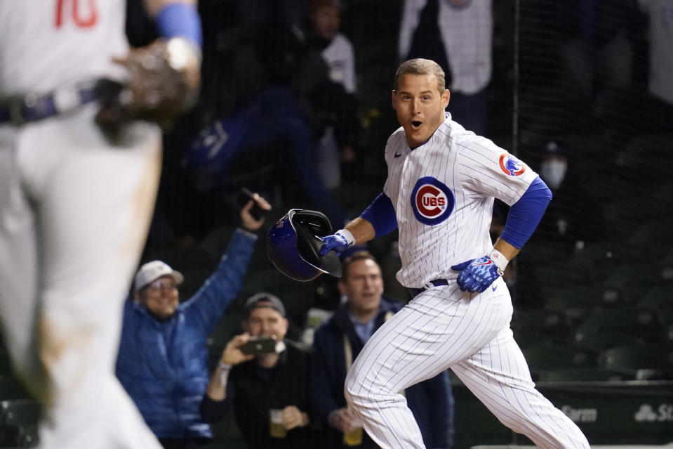 Chicago Cubs' Anthony Rizzo reacts after driving in the winning run against the Los Angeles Dodgers during the 11th inning of a baseball game in Chicago, Wednesday, May 5, 2021. The Cubs won 6-5. (AP Photo/Nam Y. Huh)