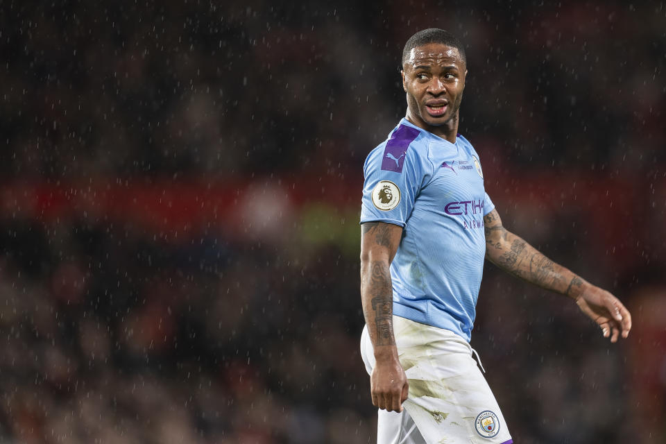 Manchester City's Raheem Sterling during the Premier League match on March 8. (Daniel Chesterton/Offside/Getty Images)
