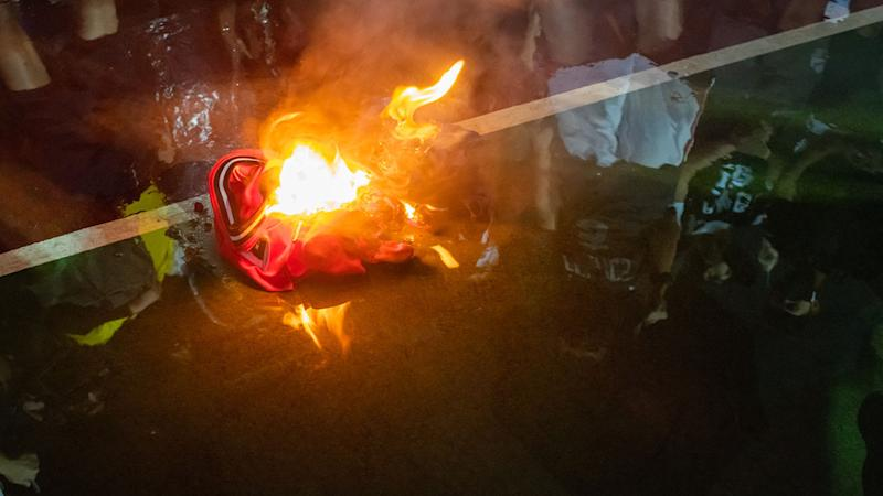 Lebron James jerseys, pictured here being burned during a rally in Hong Kong.