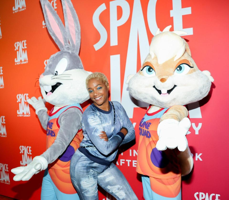 <p>Also at <em>Space Jam: A New Legacy</em> Party in the Park After Dark at Six Flags Magic Mountain, Tiffany Haddish poses with Bugs Bunny and Lola Bunny.</p>