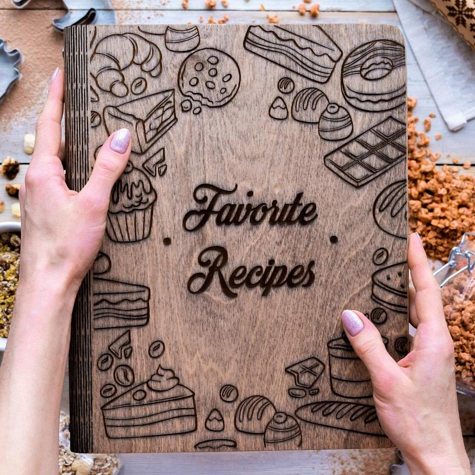 Wood Store personalized recipe notebook