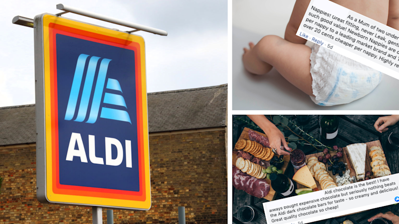 Pictured: Aldi logo, nappies, cheese and Facebook comments on most-loved Aldi groceries. Images: Getty, Facebook (Mums Who Budget and Save)