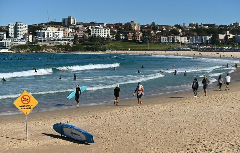 While the city centre was virtually deserted, large numbers of surfers and swimmers hit the water at Sydney's Bondi Beach