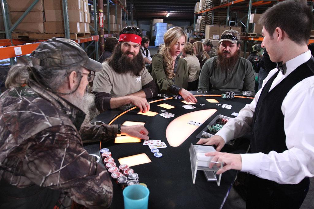 "Si Robertson, Jep Robertson, Jessica Robertson and Justin Martin in the ""Duck Dynasty"" Season 3 episode, ""Tickets to the Fun Show."""