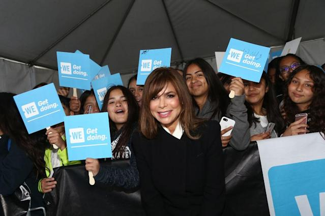 Paula Abdul poses with fans before WE Day California. (Photo: Tommaso Boddi/Getty Images for WE)