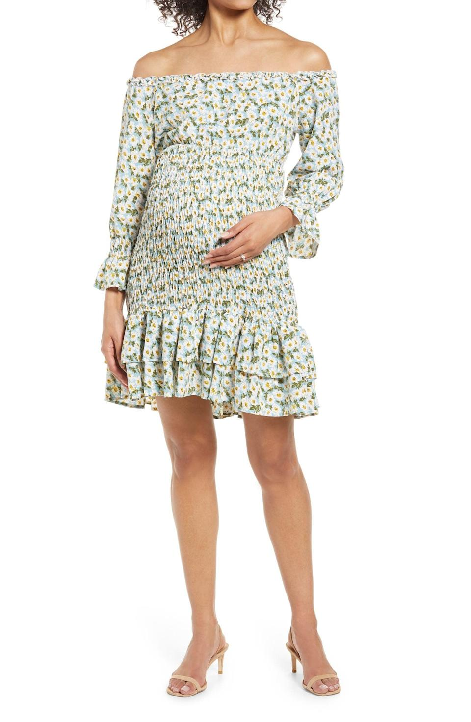 <p>This <span>Savi Mom Daisy Flora Off the Shoulder Ruffle Maternity Dress</span> ($87) will show off your bump (and shoulders) in a stylish way.</p>