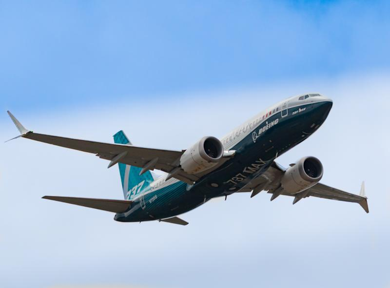HAMPSHIRE, UK - JULY, 2018: The Boeing 737-Max passenger plane in-flight, before being grounded for safety reasons . July 18, 2018 Hampshire, England