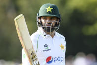 Pakistan batsman Azhar Ali walks from the field after he was dismissed for 93 runs during play on the first day of the second cricket test between Pakistan and New Zealand at Hagley Oval, Christchurch, New Zealand, Sunday, Jan 3. 2021. (John Davidson/Photosport via AP)