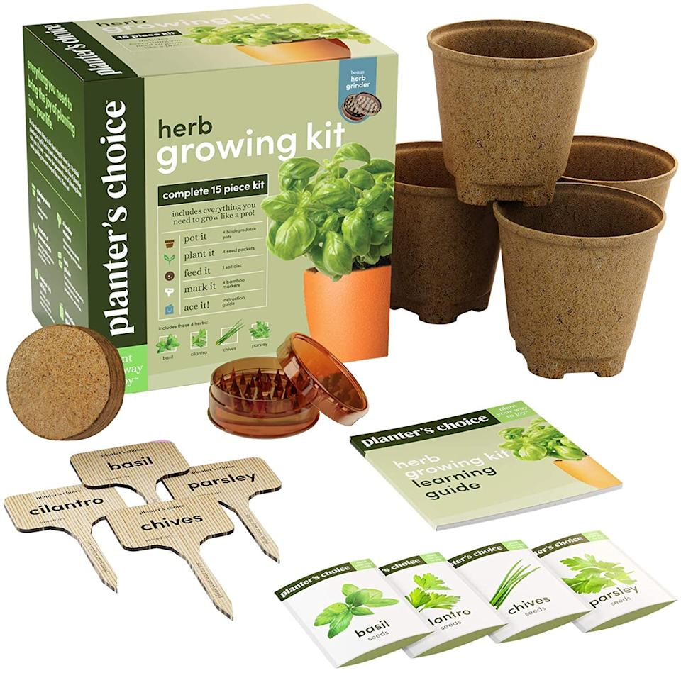 Herb Garden Growing Kit including peat pots, seeds, coir, seed grinder, and garden markers