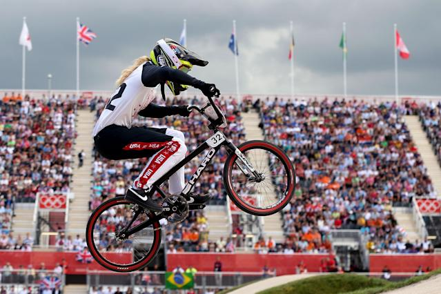 LONDON, ENGLAND - AUGUST 08: Brooke Crain of the United States competes during the Women's BMX Cycling on Day 12 of the London 2012 Olympic Games at BMX Track on August 8, 2012 in London, England. (Photo by Bryn Lennon/Getty Images)