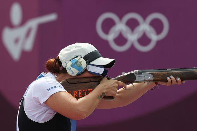ASAKA, JAPAN - JULY 29: Alessandra Perilli of Team San Marino competes during the Trap Women's Finals on day six of the Tokyo 2020 Olympic Games at Asaka Shooting Range on July 29, 2021 in Asaka, Saitama, Japan. (Photo by Kevin C. Cox/Getty Images) (Photo: Kevin C. Cox via Getty Images)