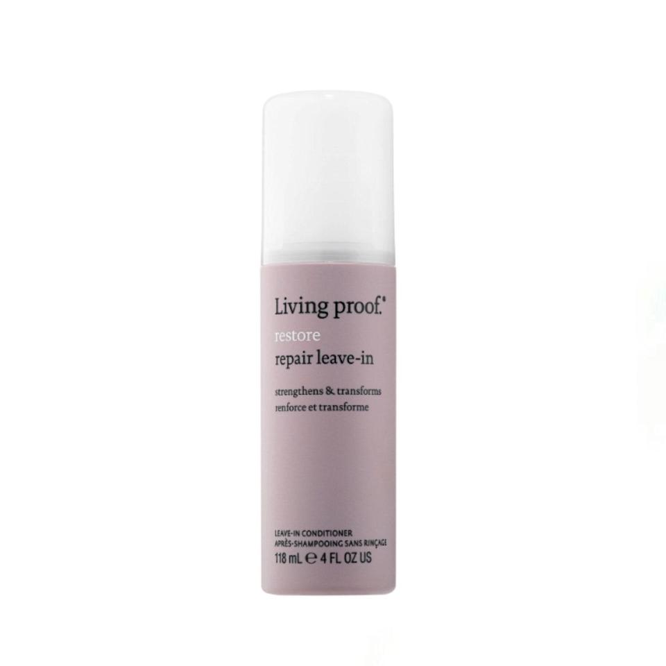 """Dry or damaged hair types will go weak at the knees for this thick, restorative formula from Living Proof. Thanks to a unique blend of nourishing tucuma seed butter and protective UV technology, the formula works well to mend split ends and prevent further styling and sun damage. $30, Dermstore. <a href=""""https://shop-links.co/1733784440655879903"""" rel=""""nofollow noopener"""" target=""""_blank"""" data-ylk=""""slk:Get it now!"""" class=""""link rapid-noclick-resp"""">Get it now!</a>"""