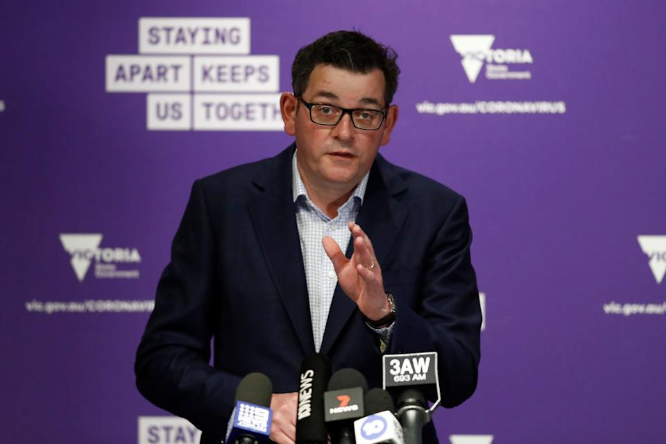 Victorian Premier Daniel Andrews speaks to the media during a press conference on August 02 in Melbourne.