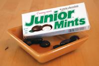 "<p>Creamy mint filling cloaked in chocolate makes for a tasty (and breath freshening!) theater snack. The candy was supposedly named after the creator's favorite Broadway play, ""Junior Miss.""</p>"