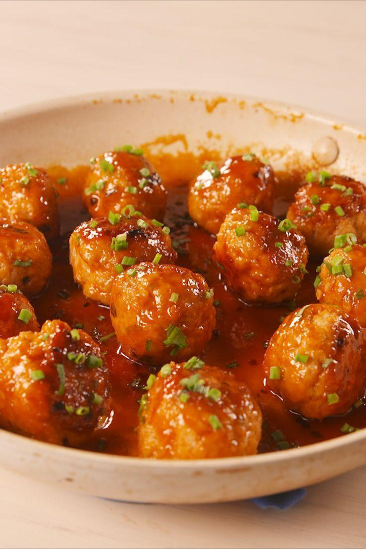 """<p>Turn these into a party app with a cheap box of toothpicks!</p><p>Get the recipe from <a href=""""https://www.delish.com/cooking/recipe-ideas/a19664686/firecracker-chicken-meatballs-recipe/"""" rel=""""nofollow noopener"""" target=""""_blank"""" data-ylk=""""slk:Delish"""" class=""""link rapid-noclick-resp"""">Delish</a>.</p>"""