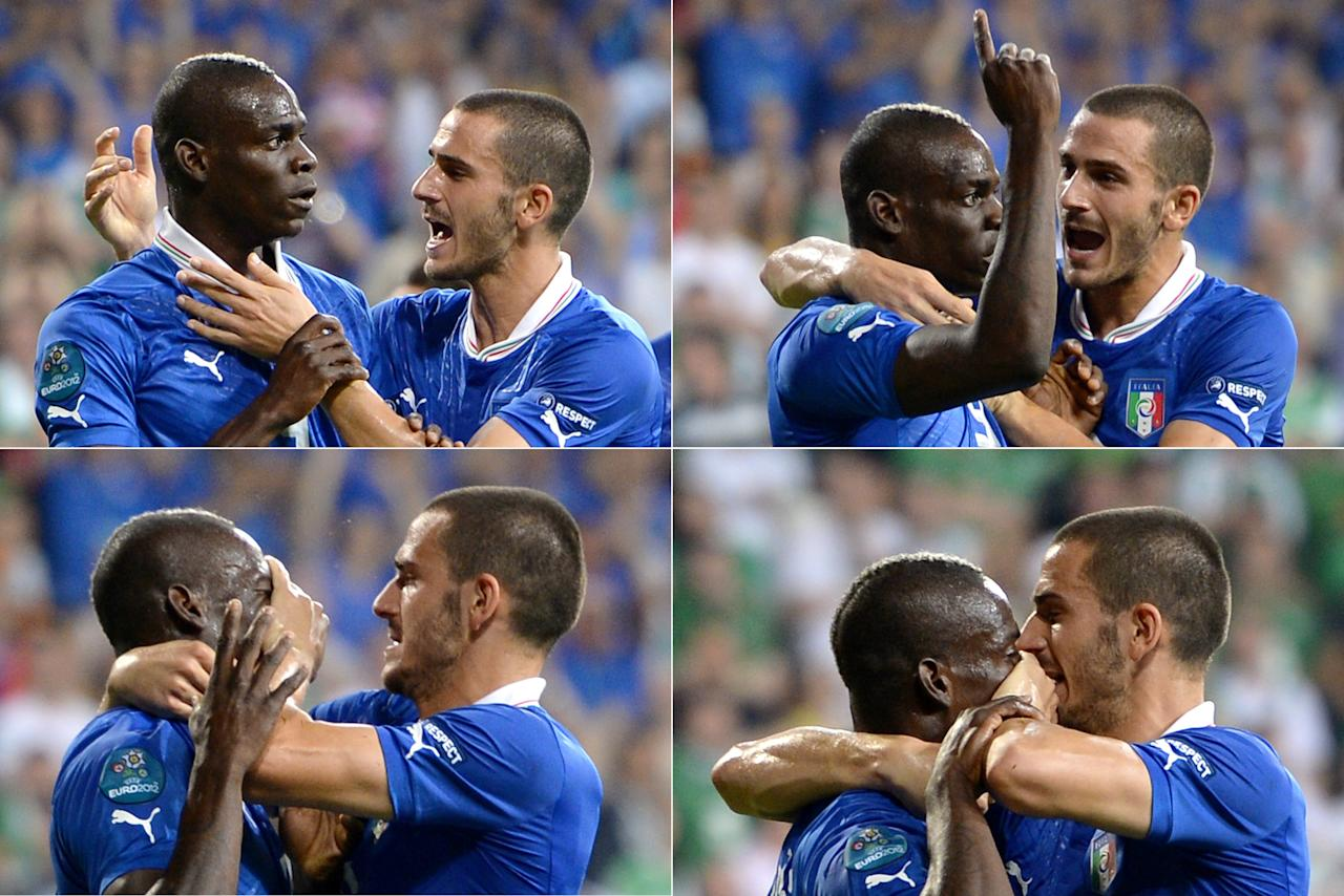 A combination of pictures shows Italian defender Leonardo Bonucci (R) putting his hand over Mario Balotelli's mouth after Balotelli scored during the Euro 2012 football championships match Italy vs Republic of Ireland on June 18, 2012 at the Municipal Stadium in Poznan. AFP PHOTO / FABRICE COFFRINI        (Photo credit should read FABRICE COFFRINI/AFP/GettyImages)
