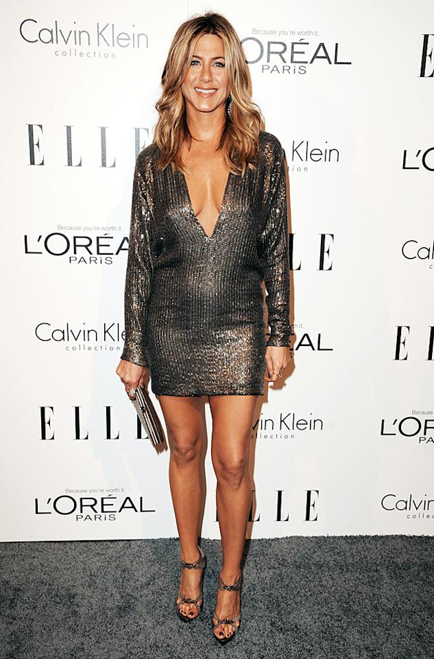 Plunging necklines are big in Hollywood because celebs like Jennifer Aniston aren't afraid to show a little skin! (10/17/2011)
