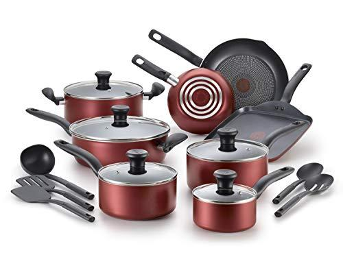 T-fal, Dishwasher Safe Cookware Set, 18 Piece, Red Initiatives Nonstick Inside (Amazon / Amazon)