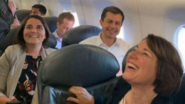 PHOTO: Presidential candidates Mayor Pete Buttigieg and Senator Amy Klobuchar were seated near each other on a United Airlines flight, Sept. 10, 2019. (Pete Buttigieg/Twitter)