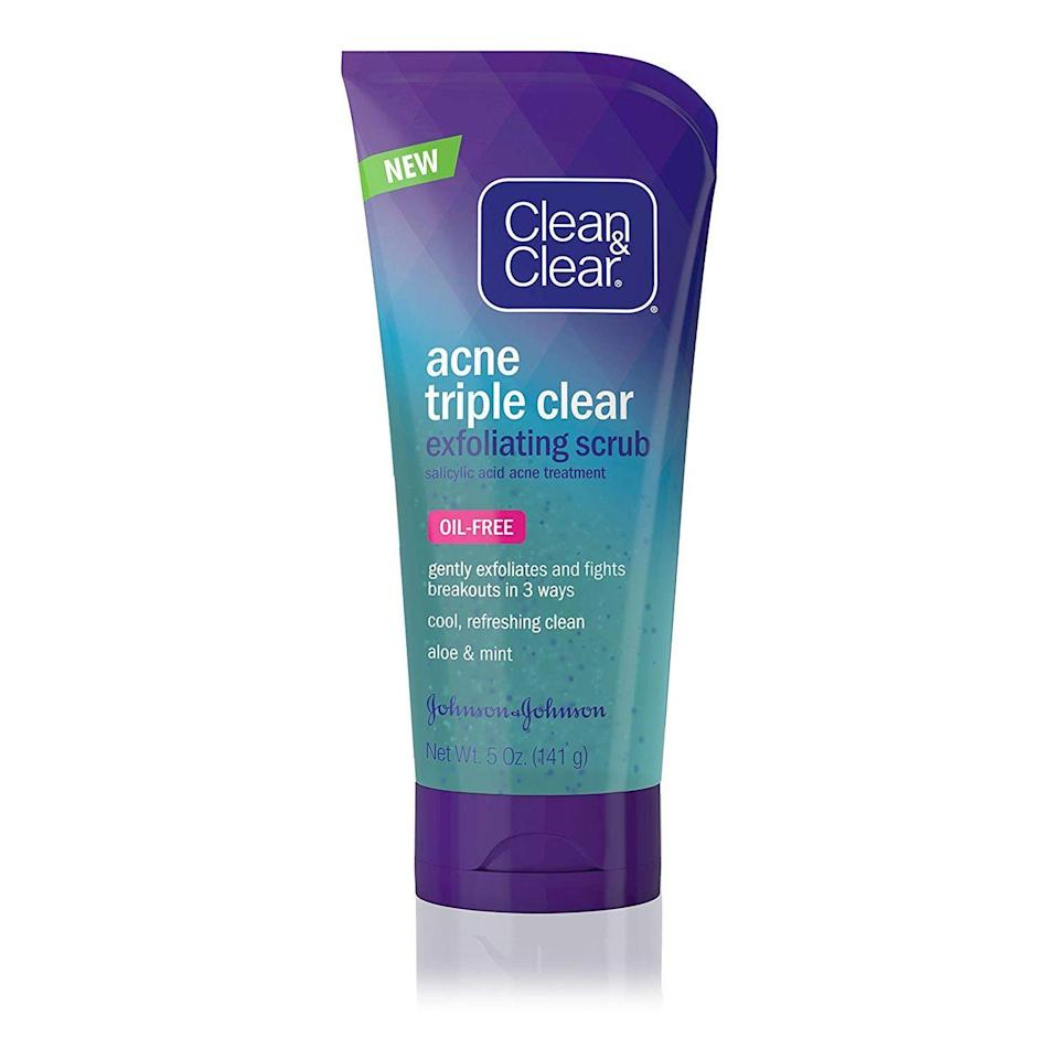 """<p>Acne starts with blocked pores, so the key to nipping acne in the bud is clearing away dirt, oil, and dead skin cells that can stop up your follicles. This version uses salicylic acid to gently exfoliate without irritating any breakouts you might already have.</p><p><strong>Clean & Clear</strong> Acne Triple Clear Exfoliating Facial Scrub, $7, <a href=""""https://www.target.com/p/clean-clear-acne-triple-clear-exfoliating-facial-scrub-5oz/-/A-51142141"""" rel=""""nofollow noopener"""" target=""""_blank"""" data-ylk=""""slk:target.com"""" class=""""link rapid-noclick-resp"""">target.com</a>. <a class=""""link rapid-noclick-resp"""" href=""""https://www.target.com/p/clean-clear-acne-triple-clear-exfoliating-facial-scrub-5oz/-/A-51142141"""" rel=""""nofollow noopener"""" target=""""_blank"""" data-ylk=""""slk:SHOP"""">SHOP</a></p>"""