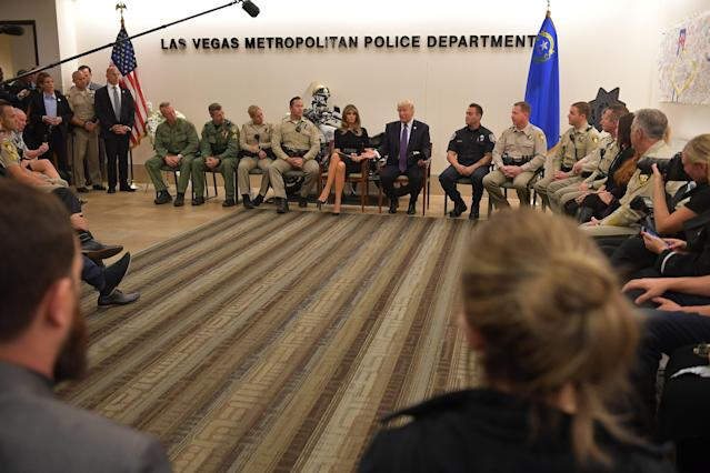 <p>President Donald Trump and First Lady Melania Trump visit with volunteers and first responders at the Las Vegas Metropolitan Police Department Command Center in Las Vegas, Nev., on Oct. 4, 2017. (Photo: Mandel Ngan/AFP/Getty Images) </p>