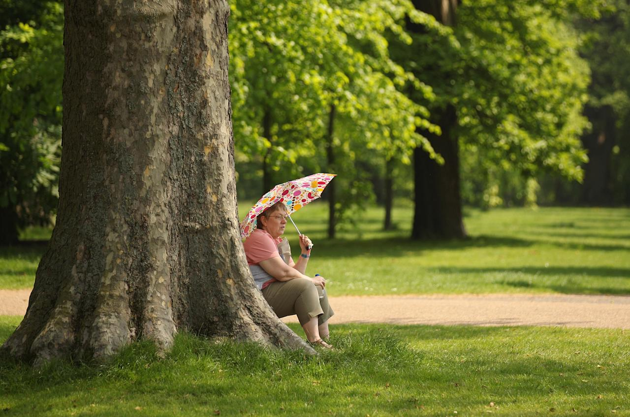 LONDON, ENGLAND - MAY 23: A woman rests in the shade of a tree in sunny weather in Hyde Park on May 23, 2012 in London, England. Following the high afternoon temperatures in the capital yesterday, it is expected to reach 26 degrees Celsius today with warm weather forecast for the rest of the week. (Photo by Oli Scarff/Getty Images)