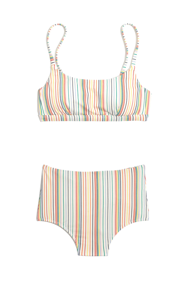 """<p><strong>Madewell</strong></p><p>madewell.com</p><p><strong>$49.50</strong></p><p><a href=""""https://www.madewell.com/madewell-second-wave-sport-bikini-top-in-rainbow-stripe-L8213.html"""" target=""""_blank"""">SHOP THE TOP</a></p><p><a class=""""body-btn-link"""" href=""""https://www.madewell.com/madewell-second-wave-retro-high-waisted-bikini-bottom-in-rainbow-stripe-L8226.html?color=KA6140"""" target=""""_blank"""">SHOP THE BOTTOM</a></p><p>This swimsuit is made from recycled plastic so you can feel good knowing your bikini purchase helped the environment. The rainbow stripes add a cheerful attitude to your summer outfit and have a slight retro feel when worn with the matching high-waisted bottoms. And don't worry, the two pieces are completely machine washable. <br></p>"""