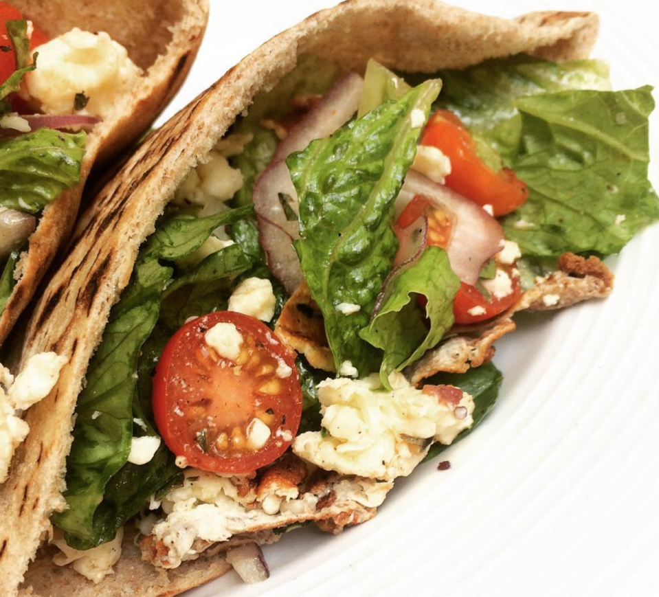 """<p>Grilled Greek salad pita party. Grill the pita. Grill the feta. Grill the cherry tomatoes. All in a grill pan. Then toss everything except the pita with chopped romaine, thinly sliced red onion, kalamata olives, olive oil, and freshly ground black pepper. Stuff into pita. Party.T</p><p>Here's <a href=""""https://www.menshealth.com/nutrition/a19543293/protein-packed-greek-salad/"""" rel=""""nofollow noopener"""" target=""""_blank"""" data-ylk=""""slk:the video recipe"""" class=""""link rapid-noclick-resp"""">the video recipe</a>.</p>"""