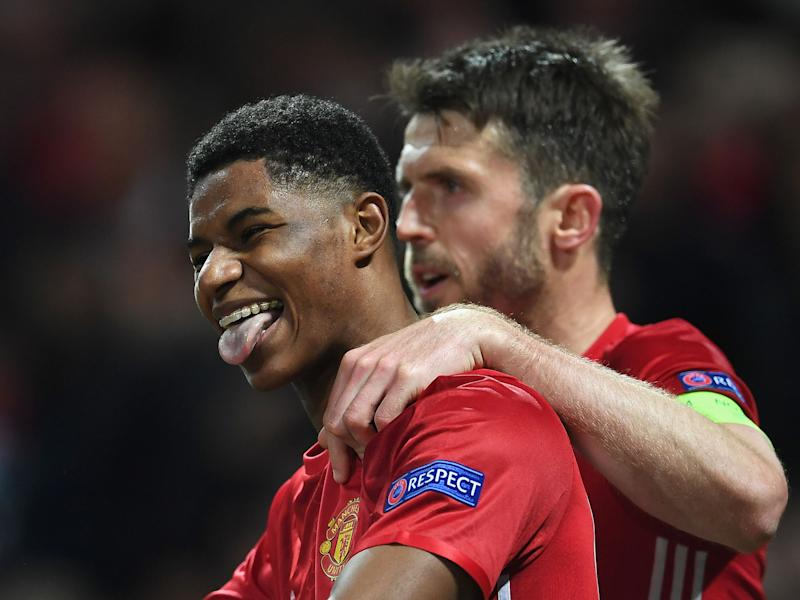Marcus Rashford celebrates his winner against Anderlecht on Thursday night: Getty