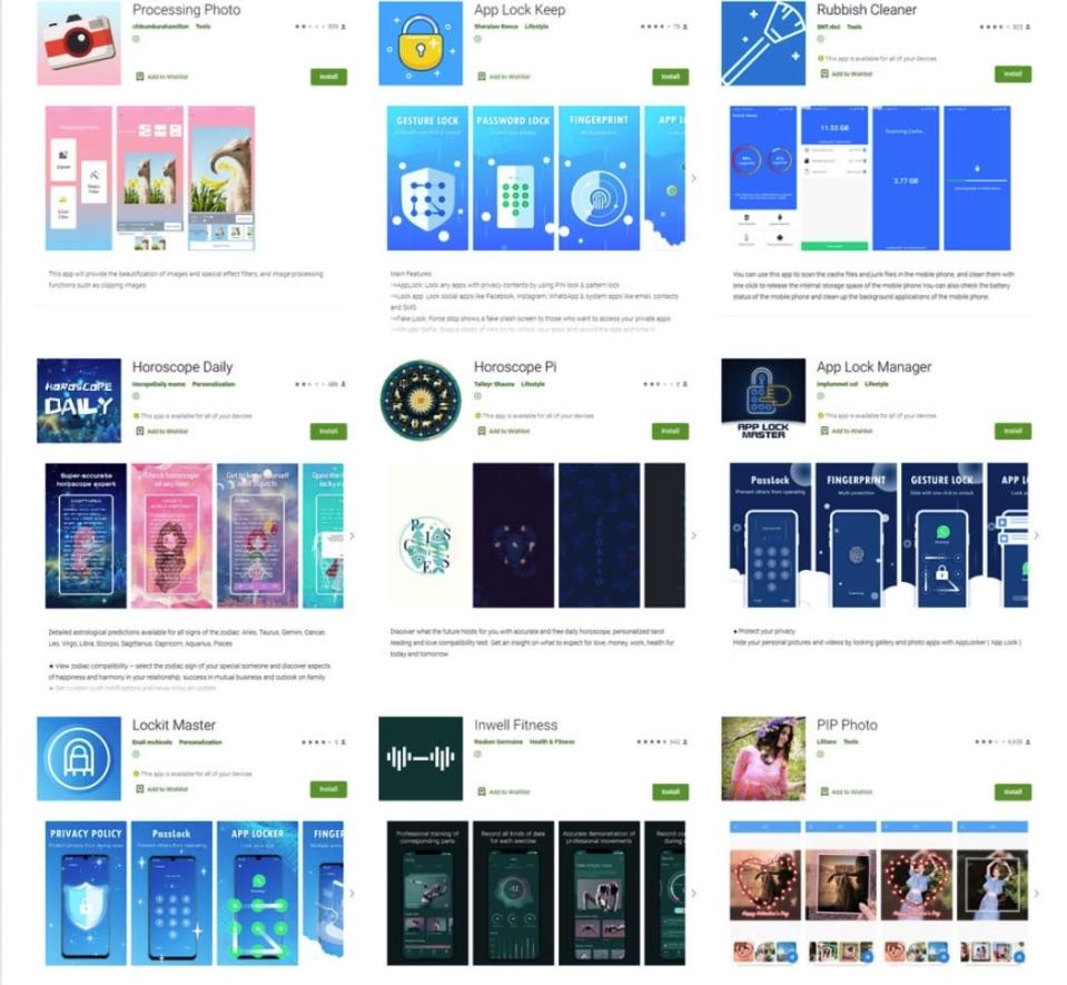 These 9 Android apps contain malicious code that can steal Facebook passwords. - Credit: Dr. Web