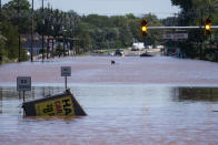 General view of the 206 route partially flooded as a result of the remnants of Hurricane Ida in Somerville, N.J., Thursday, Sept. 2, 2021. (AP Photo/Eduardo Munoz Alvarez)