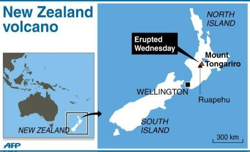 Graphic showing Mount Tongariro in New Zealand's North Island, which erupted sending a plume of ash into the atmosphere