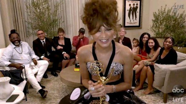 PHOTO: In this video grab, Zendaya accepts the award for outstanding lead actress in a drama series for 'Euphoria' during the 72nd Emmy Awards broadcast on ABC, Sept. 20, 2020. (ABC via AP)