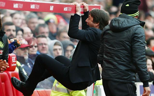 <span>Antonio Conte had his own exuberant party on the dug-out</span>