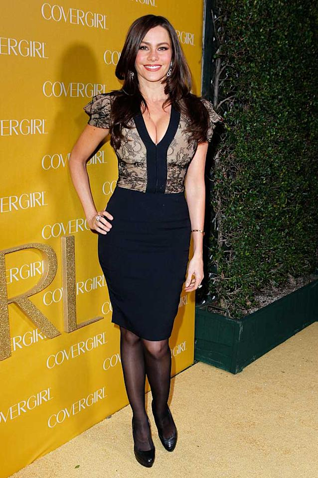"""Modern Family's"" Sofia Vergara showcased her curvaceous physique in a fairly conservative black-and-lace dress -- aside from the extreme cleavage. Jeff Vespa//<a href=""http://www.gettyimages.com/"" target=""new"">GettyImages.com</a> - January 5, 2011"