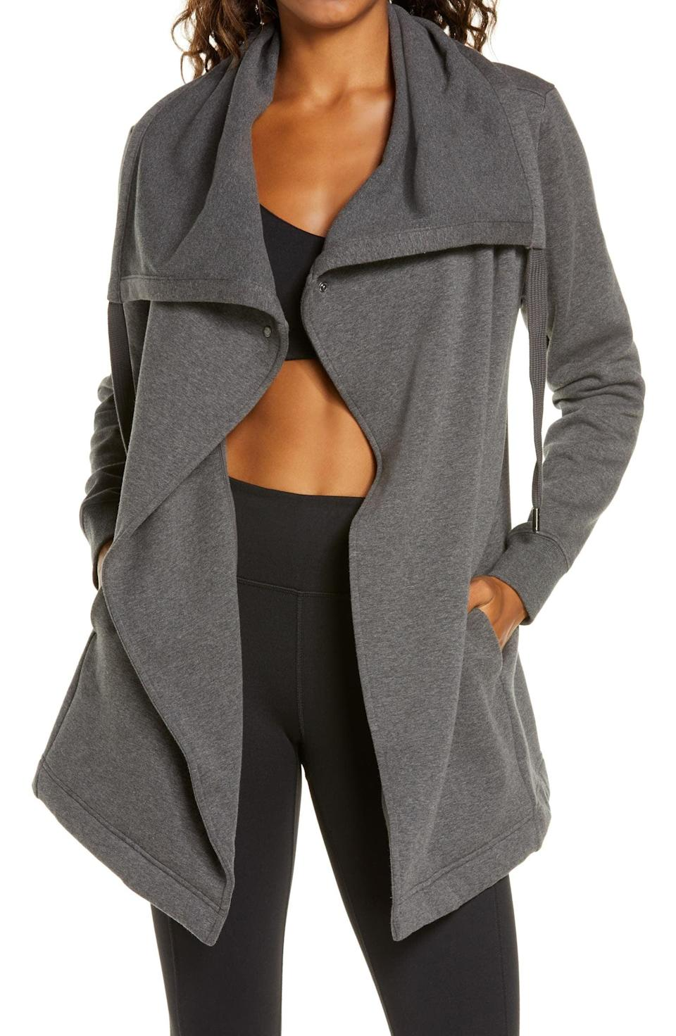 <p>Whether they're running errands or running to the gym, the <span>Zella Amazing Cozy Wrap Jacket</span> ($89) will keep them cozy and warm during the colder months. The wrap jacket can be worn as a cute cardigan or as a proper jacket. </p>