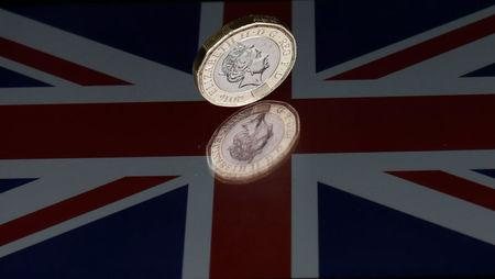 A one pound coin lies on a Union Flag in Loughborough