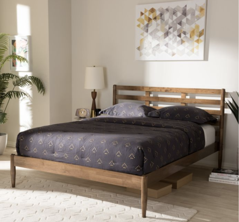 Baxton Studio Opal Queen Wood Platform Bed in Walnut. (Photo: Bed Bath and Beyond)